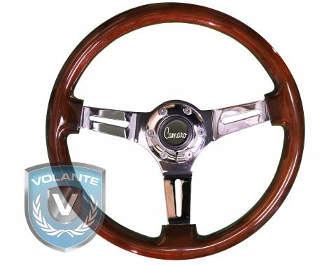 Camaro Script Volante S6 Sport Steering Wheel Kit, with Slotted Chrome Spokes & Mahogany Grip