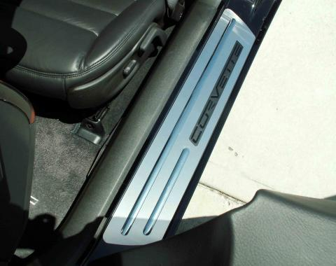 American Car Craft Doorsills Satin Outer w/Chrome Ribs Stock w/opening 041018
