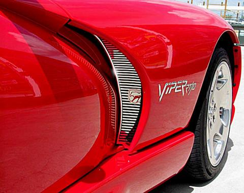 American Car Craft 1996-2002 Dodge Viper Hood Vents Side Stainless Polished 2pc w/LOGO 962008