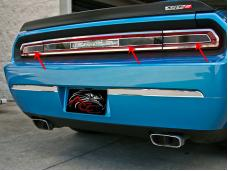 American Car Craft 2008-2014 Dodge Challenger Taillight Insert Trim Plate Smoked Plexi w/Polished Trim 152021