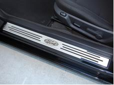 American Car Craft Doorsills Stainless Ford Oval Slotted w/Carbon Fiber 271028