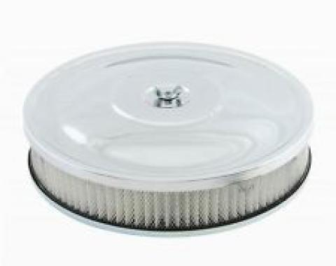 Chrome Plated Custom Style Air Cleaner, for 2 5/8'' or 3 1/16'' Carb Neck