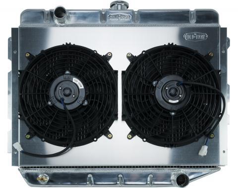 Cold Case Radiators 66-74 A,B,C,E Body AC Aluminum Performance Radiator And 12 Inch Dual Fan Kit MT 17x26 Inch MOP750K