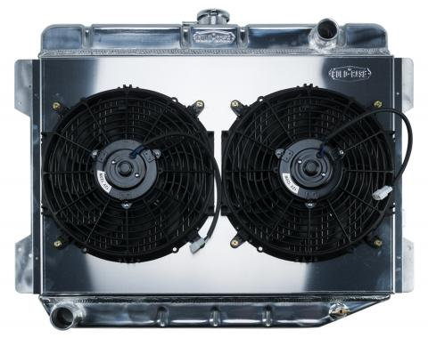 Cold Case Radiators 70-74 E Body Challenger Aluminum Performance Radiator And 12 Inch Dual Fan Kit MT 17x26 Inch MOP754K