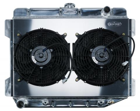 Cold Case Radiators 70-74 E Body Challenger Aluminum Performance Radiator And 12 Inch Dual Fan Kit AT 17x26 Inch MOP754AK