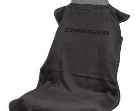 Seat Armour Charger Seat Towel, Black with Script SA100CHARGB