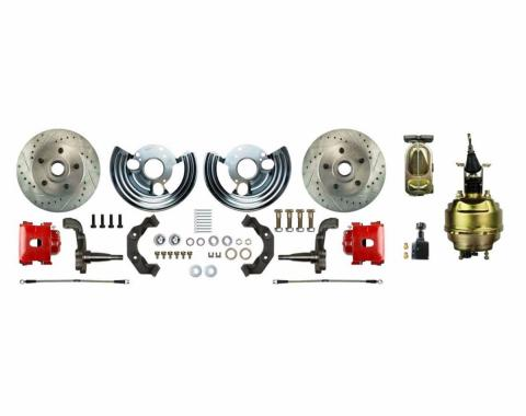 """Right Stuff Power Front Stock Height Disc Brake Conversion Kit with an 8"""" Dual Brake Booster & Master Cylinder, Drilled and Slotted Rotors, Red Powder Coated Calipers and Stainless Hoses for 60-76 Mopar B-Body. MDC62DCZ"""