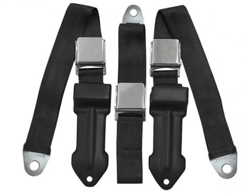 Mopar A Body 2-Point Front Retractable Lap Belts, with Center Lap Belt, for Bench Seats, 1964-1967
