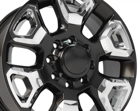 Satin Black Replica Wheel with Chrome Inserts fits Ram 2500-3500 - 20x8