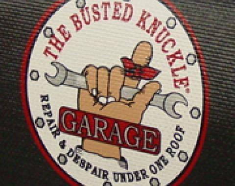 Fender Gripper® Cover, Black with Busted Knuckle Garage Logo
