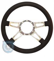 Volante S9 Premium Steering Wheel, Black Leather and Brushed Center, 4 Spoke with Slots