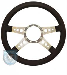 Volante S9 Premium Steering Wheel, Black Leather and Brushed Center, 4 Spoke with Holes