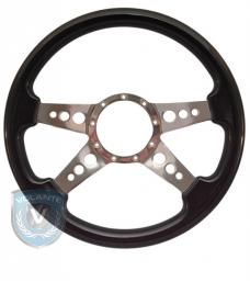 Volante S9 Premium Steering Wheel, Black Wood and Brushed Center, 4 Spoke with Holes
