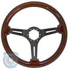 Volante S6 Sport Steering Wheel, Wood and Matte Black Center, 3 Spoke