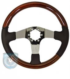 Volante S6 Sport Steering Wheel, Wood and Black Leather with Chrome Center, 3 Spoke