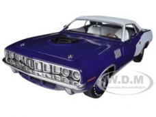 1971 Plymouth Cuda Hemi Violet with White Vinyl Roof 1/24 Diecast Model