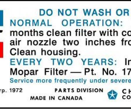 1974 Mopar 318 Air Cleaner Service Instructions Decal (Blue/Black Print)
