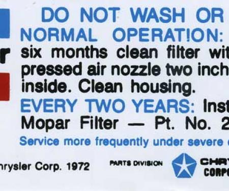 1972-74 Mopar Air Cleaner Service Instructions Decal (Blue/Black Print)
