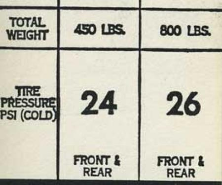 1973-75 Mopar A-Body All Models with 735 x 14 Tire Pressure Decal (OE# 3815046)