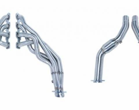 Pypes Exhaust Header 1-7/8 in Primary 30 in Collector Long Tube Catted Downpipe 304 Stainless Steel Polished Exhaust HDR40SK-1